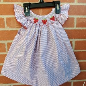 Retro vintage smocked seersucker strawberry dress